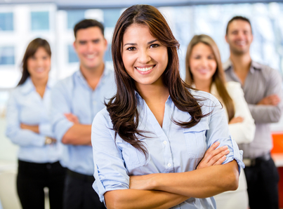 Businesswoman leading a business team and smiling