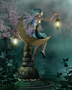 a little pixie with a lantern sitting on a moon of stone