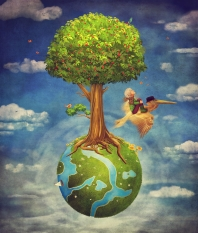 The little boy and brown pelican fly in the sky with beautiful woodland scene with big tree and small planet